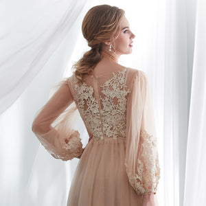 Champagne Long Sleeve Tulle Lace Appliques Prom Dresses