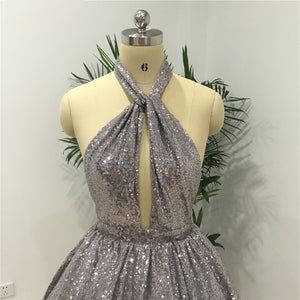 Sexy Silver Halter Backless Sequin Bridesmaid Dresses Short Prom Dress