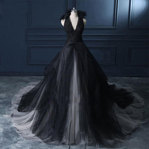 Black V Neck Lace Appliques Backless Wedding Dresses With Ruffles