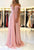 Pink Deep V Neck Off Shoulder Lace Up Back Bridesmaid Dresses