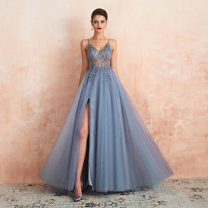 Sexy Blue gray V Neck Sleeveless Side Slit Prom Dresses With Beaded