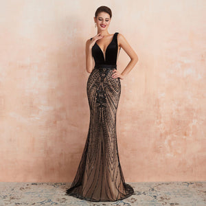 Sexy V Neck Backless Sequin Prom Dresses Mermaid Evening Dresses