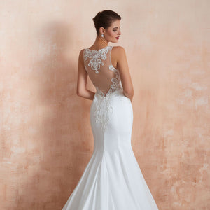 Sexy White See Through Lace Wedding Dresses Mermaid Bridal Gown