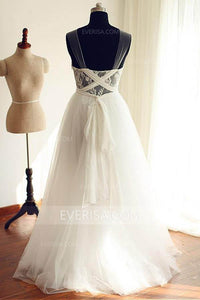 Elegant White Sleeveless Backless Tulle Wedding Dress Lace Bridal Gowns - EVERISA
