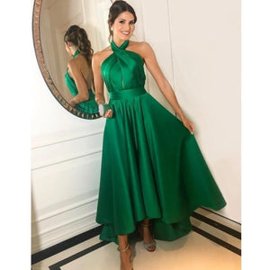 Green Cross Neck A Line Pleated Satin High Low Prom Dresses