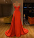 Spaghetti Straps Side Split Prom Dresses A Line Satin Evening Dresses