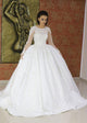 White Jewel Neck Long Sleeve Lace Applique A Line Wedding Dresses
