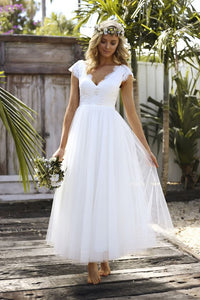 White V Neck Cap Sleeve Lace Wedding Dresses A Line Bridal Gown