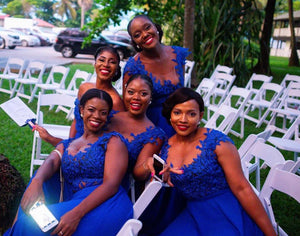 Royal Blue Cap Sleeve Side Slit Chiffon Bridesmaid Dresses With Lace