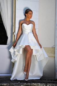 Sweetheart Sleeveless A Line Pleats High Low Wedding Dresses