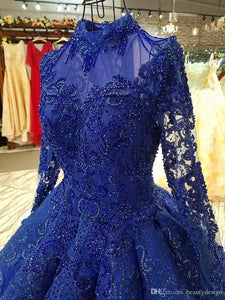 Blue High Neck Long Sleeves Prom Dresses Lace Beaded Evening Dresses
