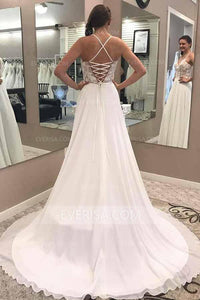 Sexy White V- Neck Side Slit Chiffon Wedding Dress Long Bridal Gown With Lace - EVERISA
