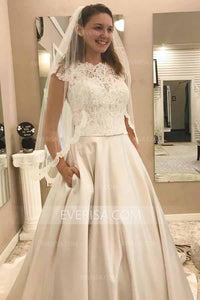 Fashion Round Neck Cap Sleeves Satin Wedding Dresses Bridal Gown With Lace - EVERISA