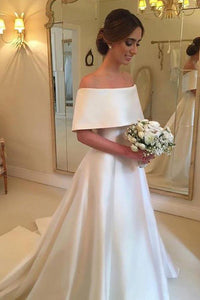 Elegant White Off Shoulder Backless Satin Wedding Dress Bridal Gown With Ruffle - EVERISA