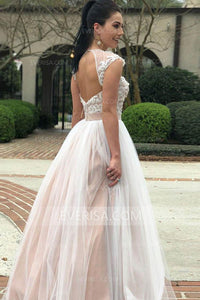 Glamorous Blush Pink Scoop Neck Backless Tulle Wedding Dress Bridal Gown With Appliques Beading - EVERISA
