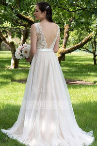 Glamorous White V-Neck Sleeveless Tulle Wedding Dress Bridal Gowns With Lace - EVERISA