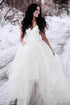 Unique White A-Line Open Back Tulle Bridal Dresses Lace Wedding Dresses