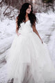 Unique White A-Line Open Back Tulle Bridal Dresses Lace Wedding Dresses - EVERISA