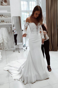 Elegant White Mermaid Empire Waist Satin Wedding Dress Bridal Dresses With Lace - EVERISA