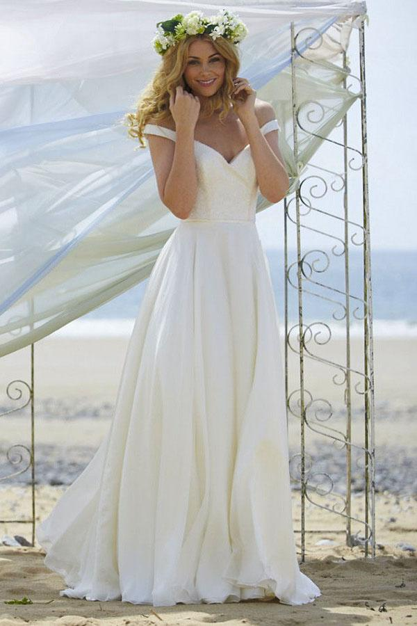 New White V Neck Off Shoulder Chiffon Wedding Dress Beach Bridal Gown