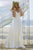 New White V-Neck Off Shoulder Chiffon Wedding Dress Beach Bridal Gown