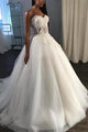 Fashion White Sweetheart Backless Tulle Wedding Dress Lace Appliques Bridal Gown - EVERISA