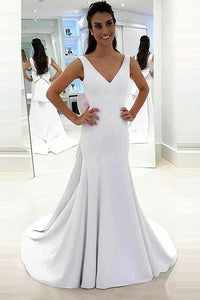 Elegant White V-Neck Backless Satin Wedding Dress Long Bridal Dresses With Bowknot - EVERISA
