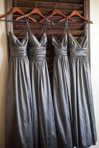 Popular Gray V-Neck Floor-Length Satin Prom Dress Bridesmaid Dresses