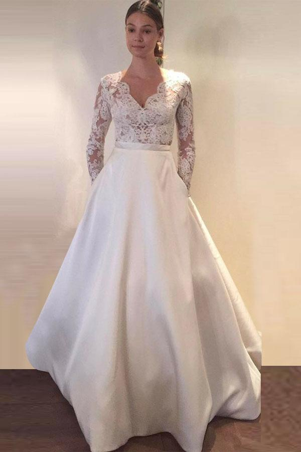 Elegant White A Lone Long Sleeves Satin Wedding Dress Lace Bridal Gown With Pockets