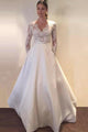 Elegant White A-Lone Long Sleeves Satin Wedding Dress Lace Bridal Gown With Pockets - EVERISA