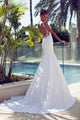 Sexy White Sleeveless Open Back Lace Wedding Dress Long Bridal Gowns - EVERISA