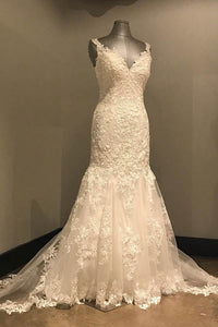 2018 Ivory V-Neck Open Back Lace Wedding Dress Mermaid Bridal Gown - EVERISA