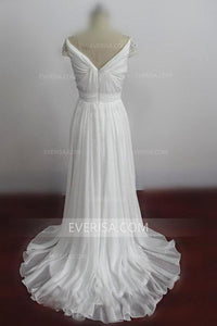 New White Sweetheart Cap Sleeve Chiffon Prom Dresses Long Evening Dresses