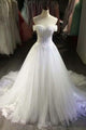New White Sleeveless Off Shoulder Tulle Bridal Gown Long Wedding Dress With Lace Appliques