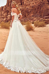 Elegant White Empire Off Shoulder Tulle Wedding Dress Bridal Gown With Lace Appliques - EVERISA