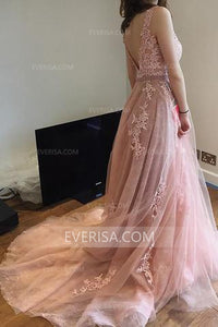 Charming Pink Scoop Neck Backless Tulle Bridal Dress Wedding Dresses With Lace Appliques - EVERISA