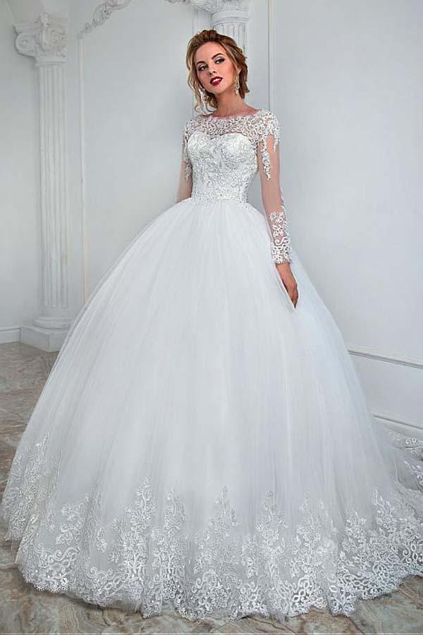 Long Sleeve Wedding Dresses.High Quality White Long Sleeves Backless Tulle Wedding Dress Lace Bridal Gowns