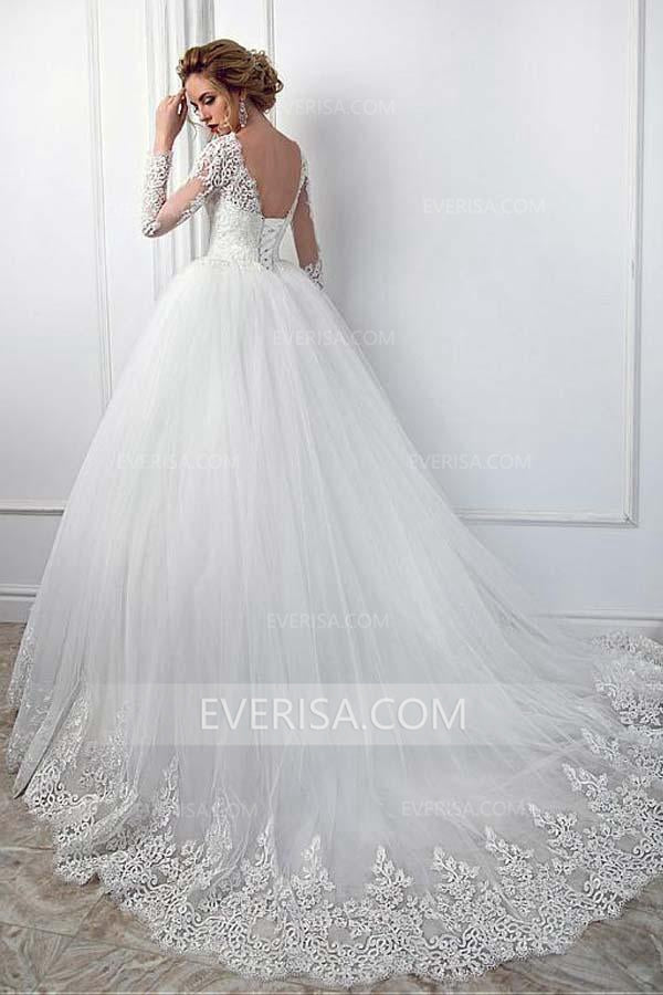 c7b01382c69 High Quality White Long Sleeves Backless Tulle Wedding Dress Lace Bridal  Gowns - EVERISA