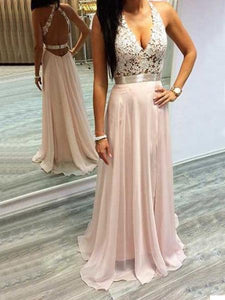 Sleeveless Backless A Line Prom Dresses Long Evening Dresses With Lace - EVERISA