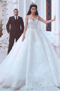 2018 White V-Neck Sleeveless Backless Lace Bridal Gown Appliques Wedding Dresses - EVERISA