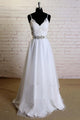 2018 White V-Neck Sleeveless Satin Wedding Dress Lace Bridal Gowns With Sash - EVERISA