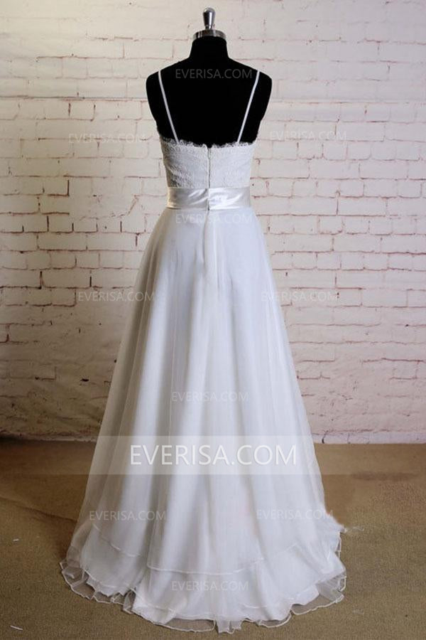 c368d624b0c35a 2018 White V-Neck Sleeveless Satin Wedding Dress Lace Bridal Gowns With  Sash - EVERISA