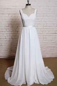 Elegant White Straps Sleeveless Open Back Chiffon Wedding Dresses Lace Bridal Gown - EVERISA
