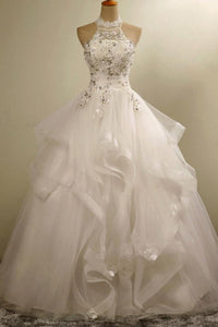 Fashion White Halter Empire Sleeveless Tulle Wedding Dress Beaded Lace Bridal Gown - EVERISA