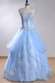 Unique Pale Blue A-Line Sweetheart Tulle Bridal Gown Beaded Lace Wedding Dress - EVERISA