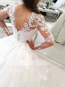 Luxury White V-Neck Long Sleeves Detachable Tulle Wedding Dress Lace Bridal Gown - EVERISA