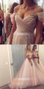 Blush Pink Sleeveless Backless A Line Evening Dresses Cheap Prom Dresses - EVERISA