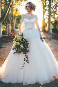 Elegant White Long Sleeves Open Back Tulle Wedding Dress Bridal Gown With Beaded Lace - EVERISA