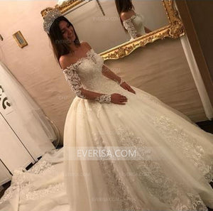 Gorgeous White Off Shoulder Empire Waist Tulle Bridal Gown Wedding Dress With Lace Appliques - EVERISA