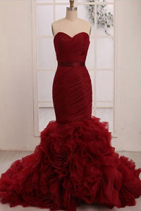 Gorgeous Burgundy Sweetheart Sleeveless Tiered Tulle Wedding Dress Bridal Gown With Sash - EVERISA